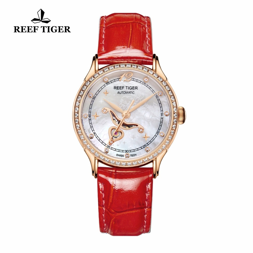цена на Reef Tiger Fashion Diamonds Watches for Women Calfskin Leather Strap White MOP Dial Miyota Automatic Watches RGA1550