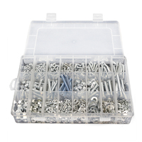 24 Grids Screw Tools Box Sets M3 M4 M5 M6 Stainless Steel Hexagon Head Screws Bolt Hex Nut Flat Spring Washers