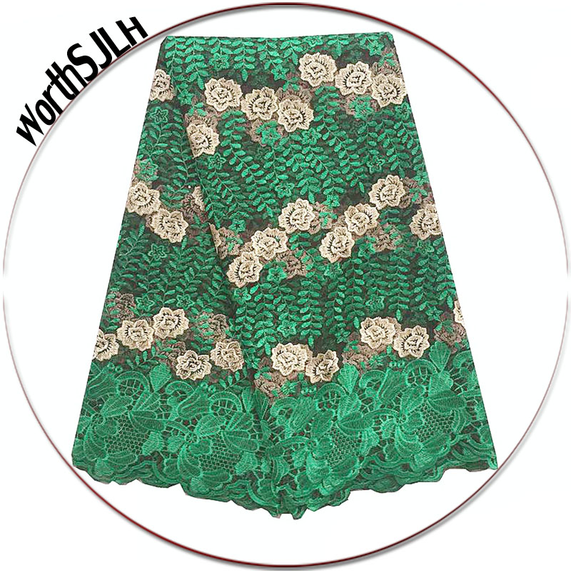 WorthSJLH Latest African Lace Fabric 2018 High Quality Lace Embroidered Green Purple 2019 French Guipure Nigerian Lace Fabrics