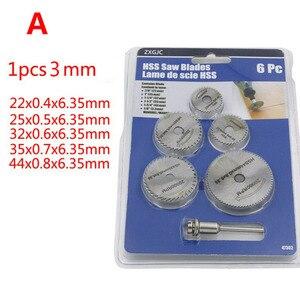Image 4 - 6 sztuk/zestaw HSS miniaturowa piła tarczowa ostrze do cięcia drewna wiertła do narzędzi obrotowych Dremel Metal Cutter elektronarzędzia trzpień zestaw