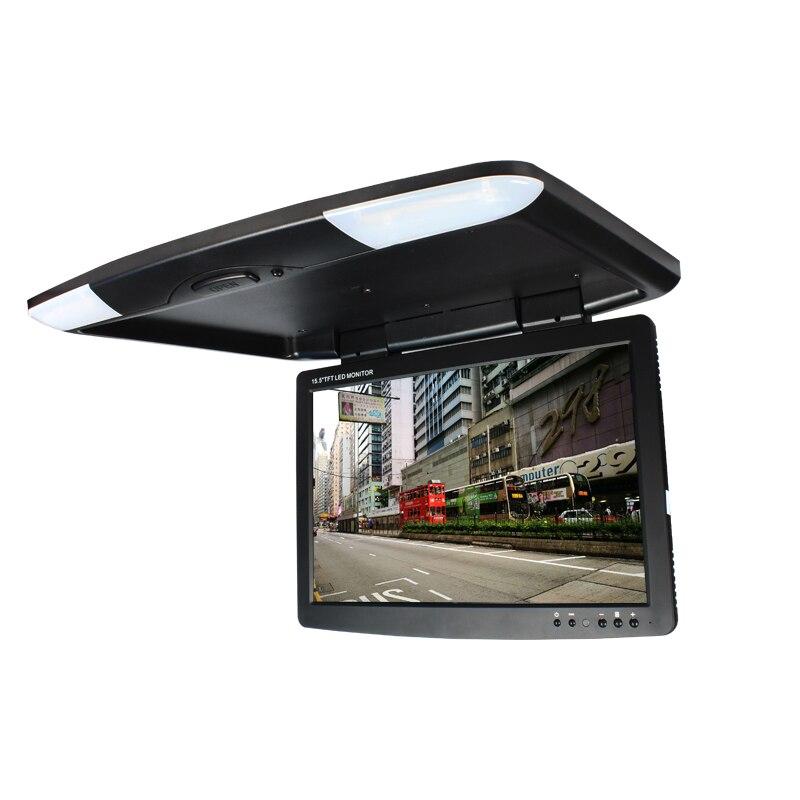 12В 15.5 дюймов автомобилей Монтируемые на крыше откидной потолочный монитор с двухсторонней Входы 1508-7