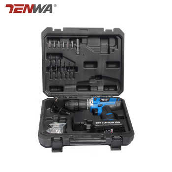 TENWA 20V Impact Cordless Drill Electric Screwdriver USB Output 13Pcs Drill Bit With Box LED LIGHT 1500mAh Battery Mini Drill