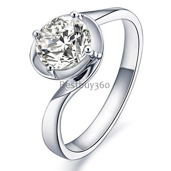 1 carat 925 sterling silver solitaire ring simulation SONA diamond ring name engraving rings (JSA)