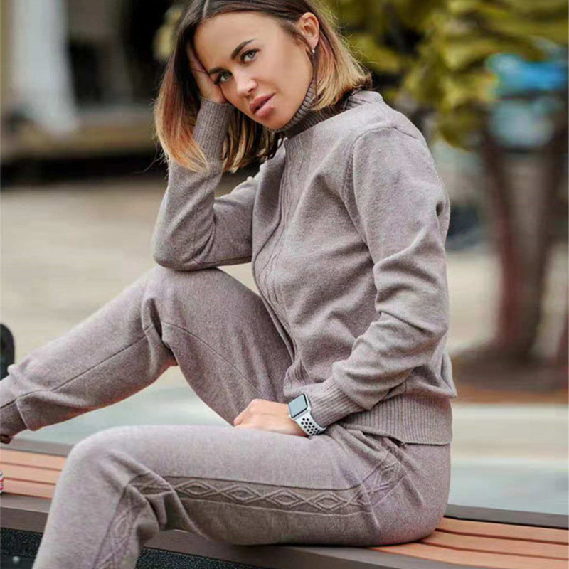 2019 New Women Winter Casual Turtleneck Sweater Knit Tracksuit Set Water Pattern Sweater Knited Pants Set Women 2 Piece Set