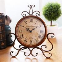 European Style Retro Antique Vintage Wrought Iron Craft Table Clock for Home Desk Cabinet Decoration (Brown)