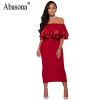 Abasona Women Ruffles Dress Black Red Bodycon Plus Size Women Dresses Long Evening Party Elegant Ladies