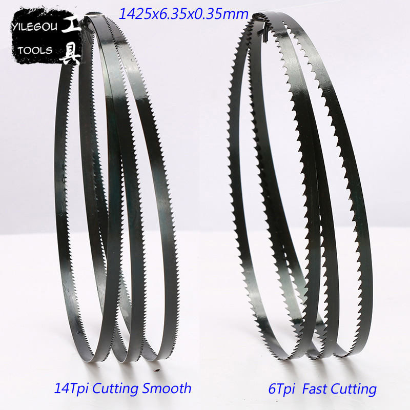 "Free Shipping 2 Pieces 8"" Band Saw Blades 6.35*0.35*1425mm*14 Teeth Wood Band Saw Blades Cutting Curve 1425*6.35*0.35mm*6 Teeth"
