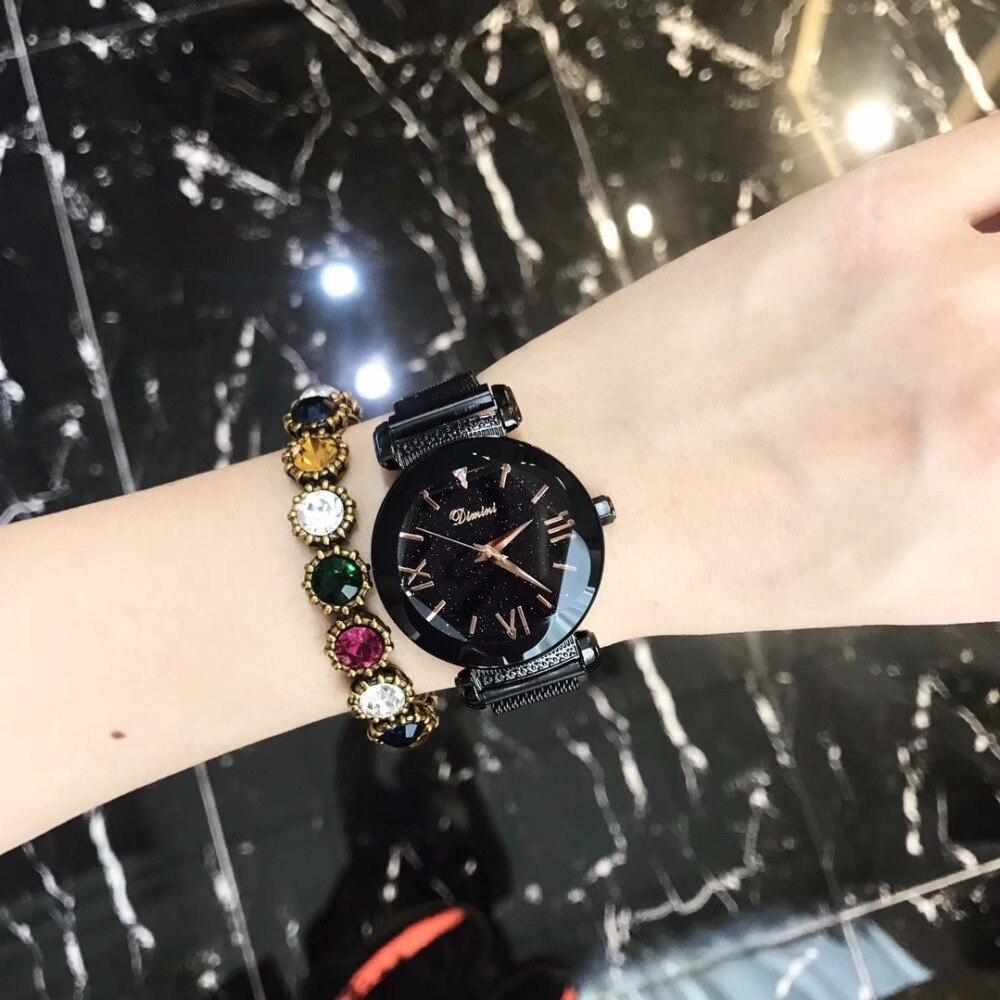 2018 marque de luxe dame montre femmes robe montre de mode Rose or Quartz montres femme aimant ceinture en acier inoxydable montres