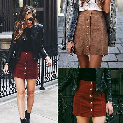 Apparel  Suede Leather Women Skirt 90's Vintage  Short Skirt Winter High Waist Casual Skirts With Button