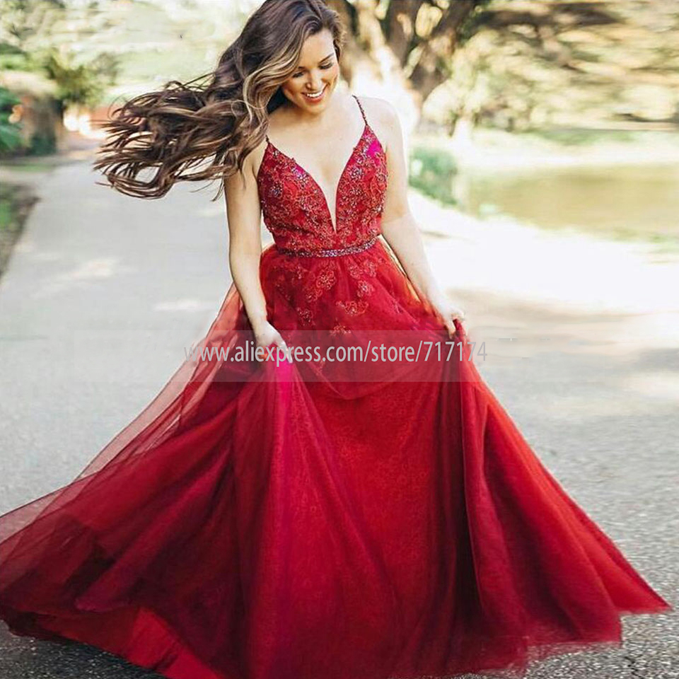 V-neck Graduation Party   Dress   A-line Soft Tulle with Beaded Belt Lace Applique Sequined No train   Prom     Dress   Formal Evening   Dress
