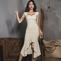 TUHAO Womens Summer Sexy 2 Pieces Suits 2019 Spaghetti Strap Crop Top + Fishtail Bodycon Skirt Evening Party Jacquard Set TA7364