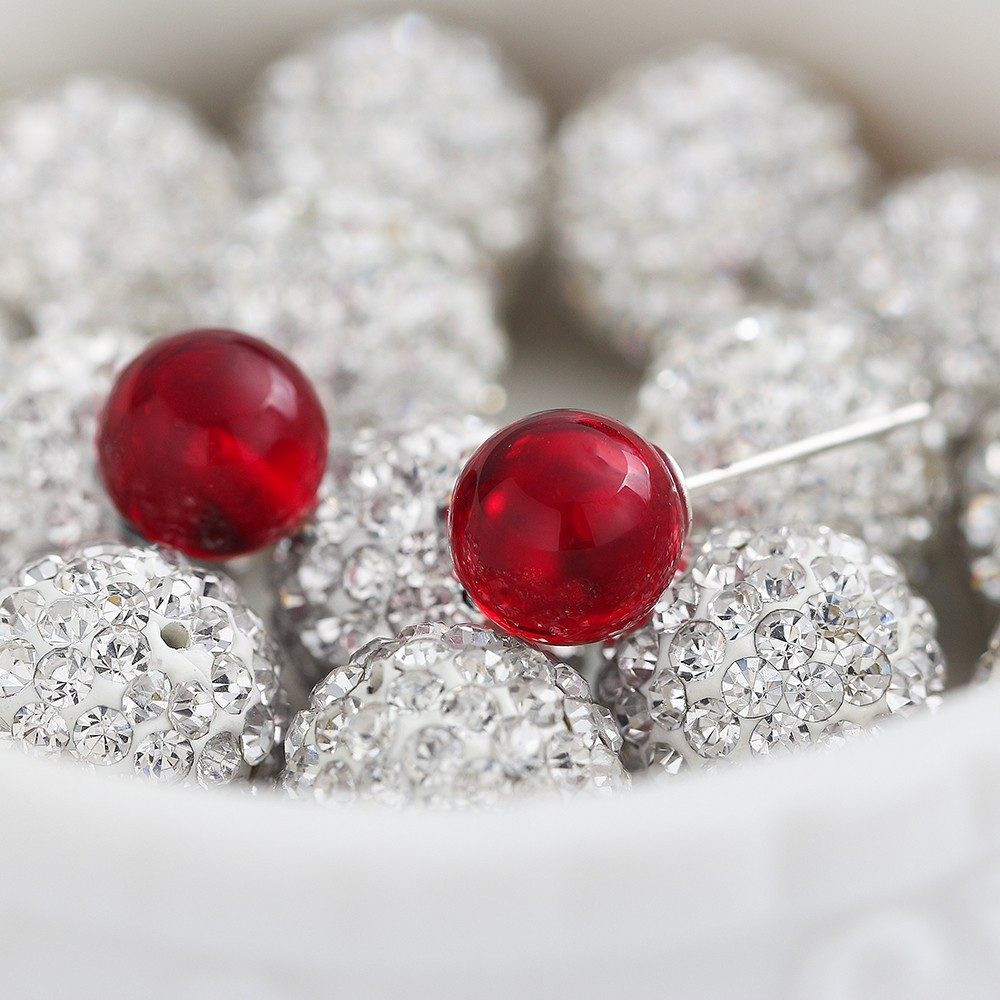 cd2f2e2af6350 US $1.83 47% OFF|Female Small Stud Earring 5mm/8mm Red Stone Garnet Earring  Real 925 Sterling Silver Pierce Jewelry for Women Wholesale-in Stud ...