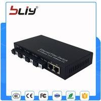 Single Fiber Media Converter 4 Fiber Port Ethernet Fiber Optic Switch With 2 Rj45 Port