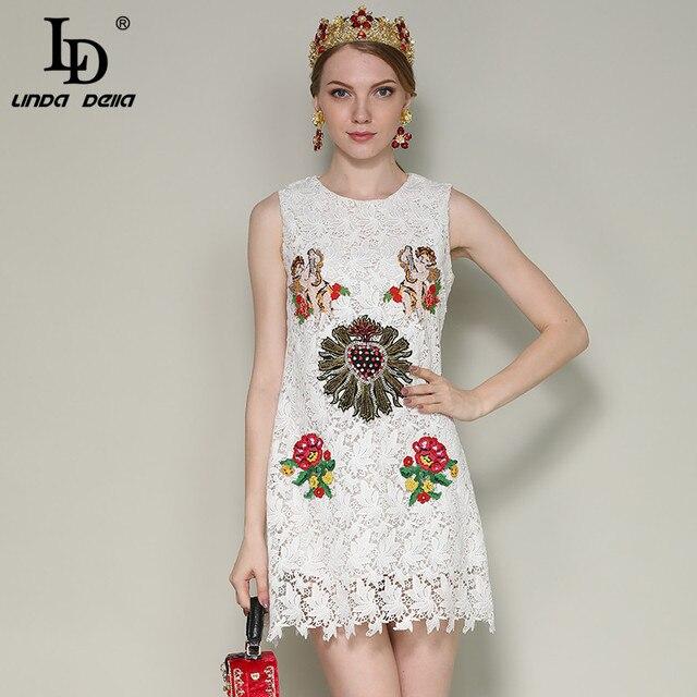 028af94713c05 US $60.99 |LD LINDA DELLA New 2018 Fashion Runway Summer Dress Women's  Sleeveless Angel Flower Embroidery Beading Elegant White Lace Dress -in  Dresses ...