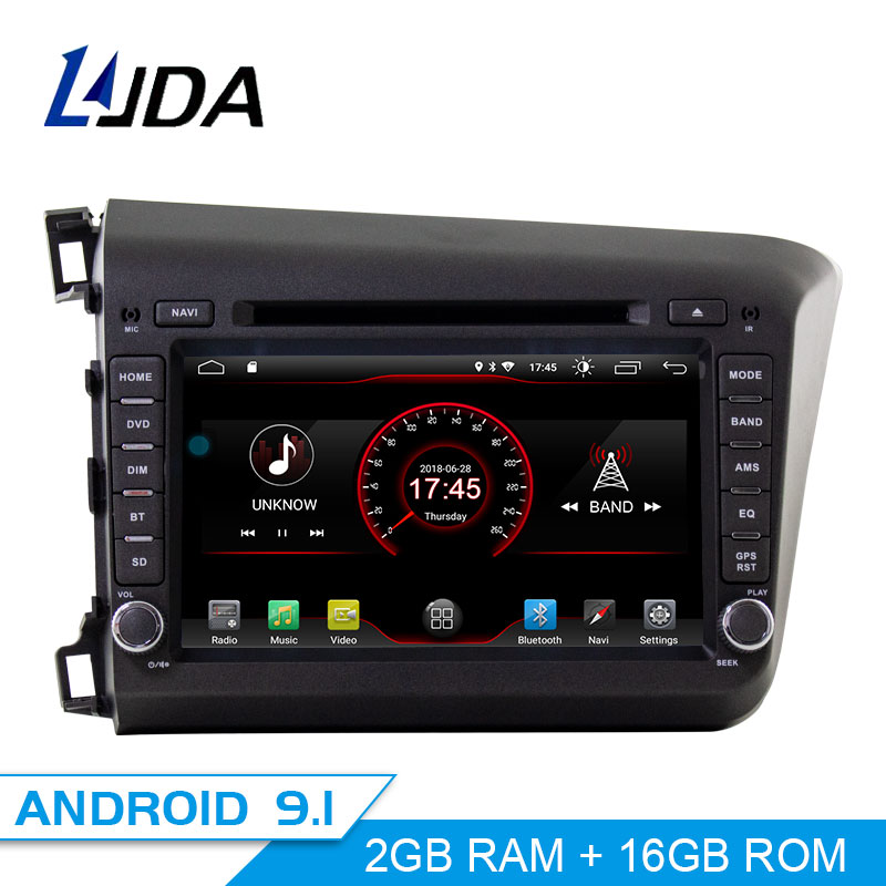 LJDA 2 Din Android 9.1 Car Radio For HONDA Civic 2012-2015 WIFI Car Multimedia Player Stereo GPS Navigation DVD IPS Auto Audio