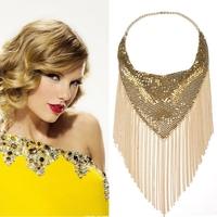 European New Fashion Sexy Jewelry Long Alloy Chain Tassel Choker Necklaces For Women Boho Statement Sequins