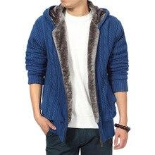 Winter Thicken Velvet Cardigan FOR Men Twisted Hooded Leisure Knitwear Solid color Sweater Windbreak Homme coat Outwear M-XXXL