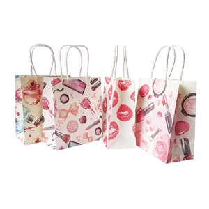 Image 5 - 50 Pcs/lot 15x18cm Cosmetic Pattern Printing Paper Bags With Handle Gift Bags Party Favor Wedding Packaging Storage Bags