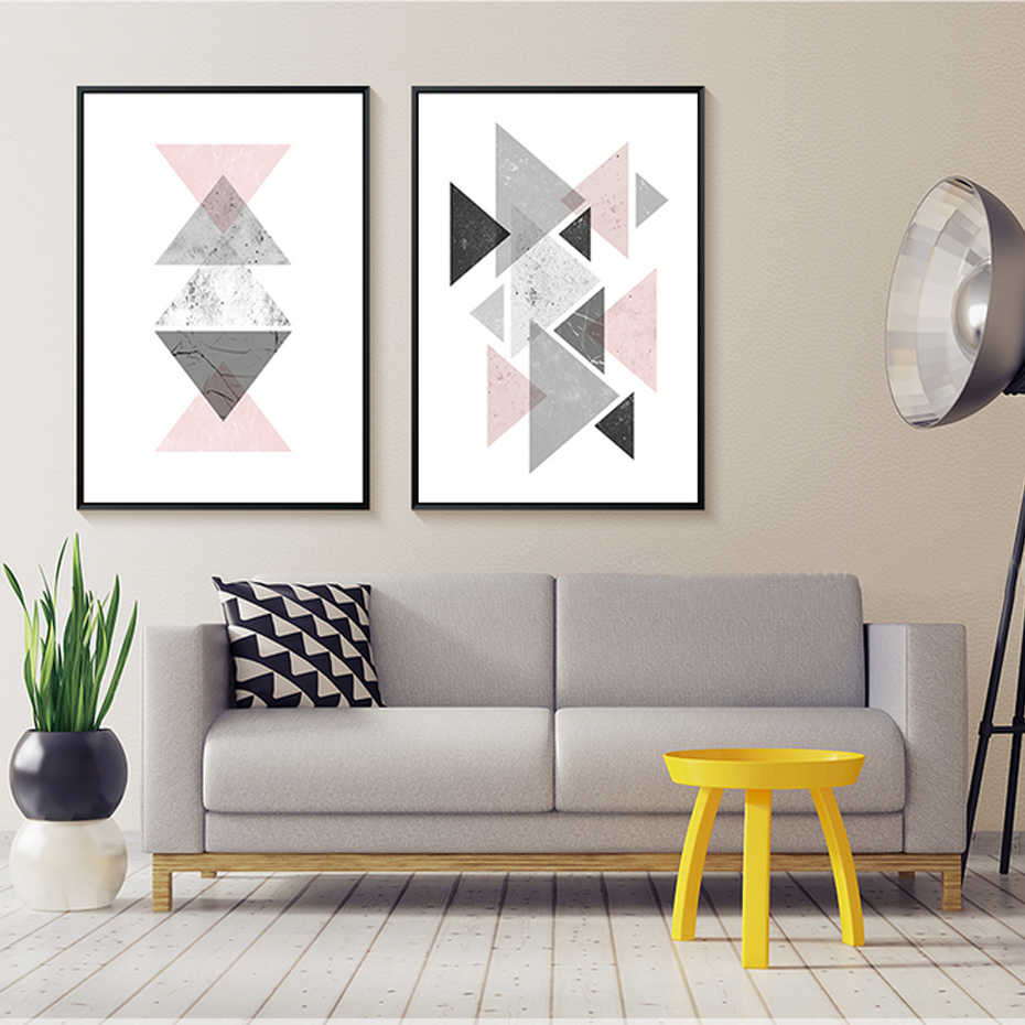 Creatively Abstract Canvas Paintings Geometric Triangles Nordic Poster Print Wall Art Picture for Kids Living Rooms Home Decor
