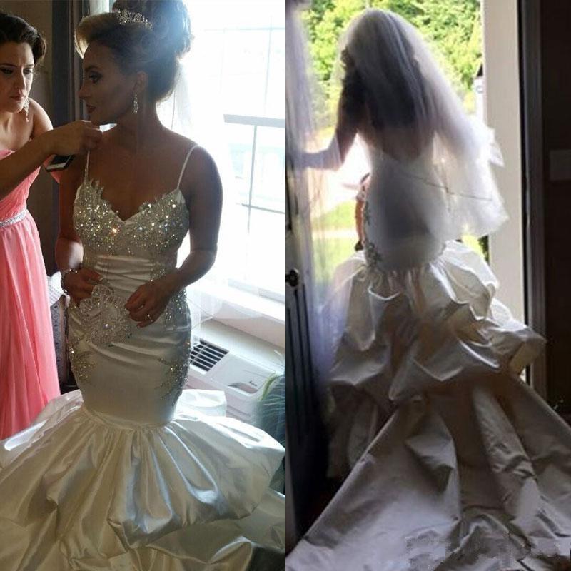 Luxury Bead Wedding Dresses Mermaid  Bride Dresses Spaghetti Straps Backless Bridal Wedding Gowns Satin vestido de noiva