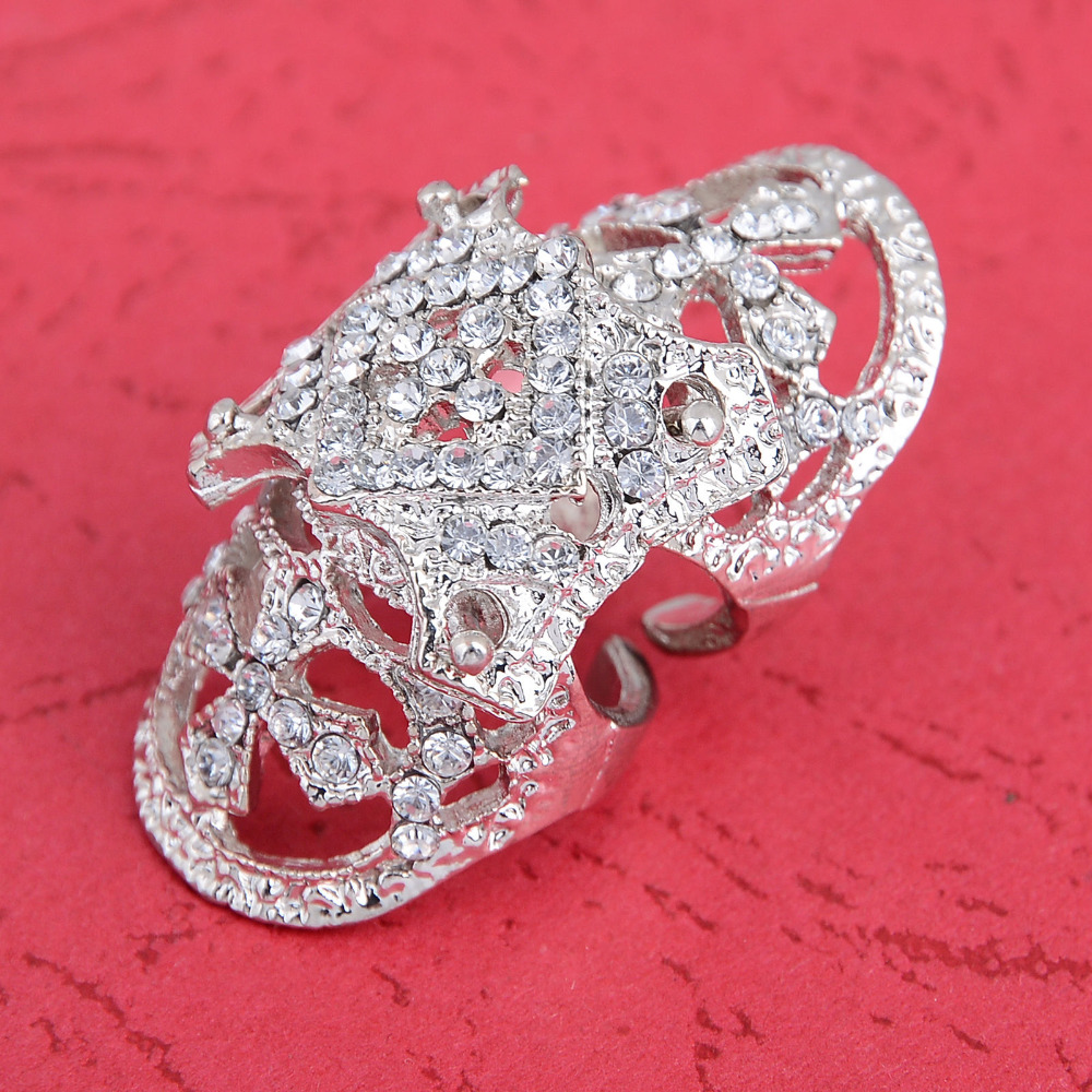 Gothic Punk Rhinestone Cross Hinged Knuckle Joint Armor Long Full Finger  Ring(china (mainland