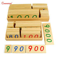 Montessori Teaching Toys 1-9000 Wooden Number Cards With Box Kids Children House Educational Materials Toy Beech Wooden MA066-3