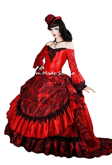f360f9aee51e Custom Made Red Gothic Victorian Steampunk Antoinette Fantasy Masquerade  Gown/Bridal Dress/Party Dress