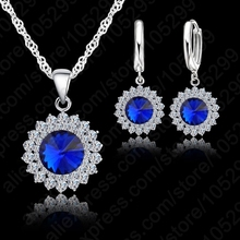 JEXXI Newest Wedding Jewelry Set 925 Pure Silver Crystal Necklace Pendant/Earrings Trendy  Women