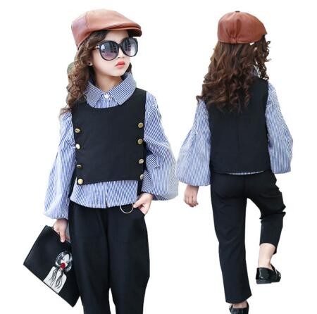 3pcs Children Girls Clothing Sets Autumn Teenage Girls Clothes School Kids Clothes Striped Shirt Vest Girls Clothes Tracksuit цена