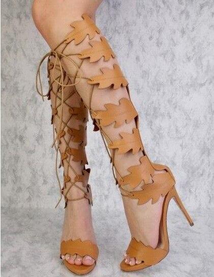 Cremallera Rodilla Hojas Buena Largas Marrón Marca As Cruz Sólida Picture Decoración Peep Toe Blanco Calidad as Nueva Mujer De Picture Pu Botas Color nZxgqqavwS