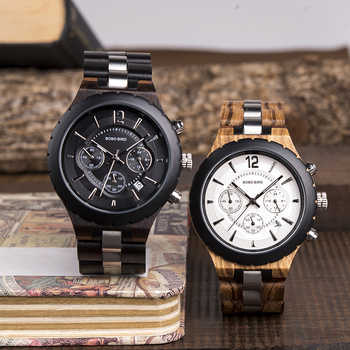 BOBO BIRD Wood Men\'s Watches 2020 Luxury Stopwatch Automatic Date Male Watch Business Clock Wooden Gift Box relogios masculino
