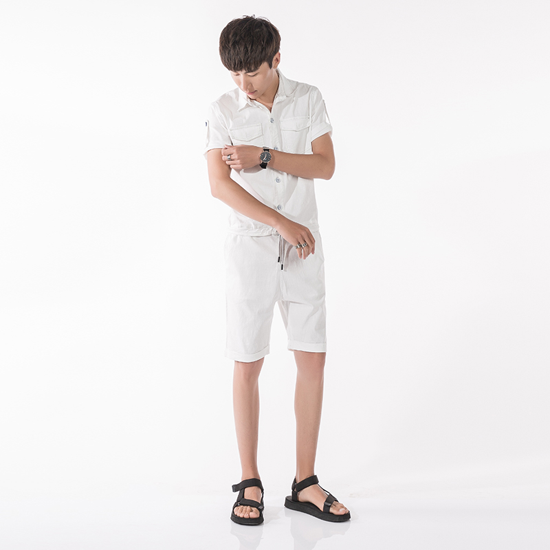 0e7029bac3f8 White Blue 2 Colors Summer Men Linen Short Jumpsuits Short Sleeve Overalls  Male Street Fashion Casual Harem Shorts-in Casual Shorts from Men s Clothing  ...