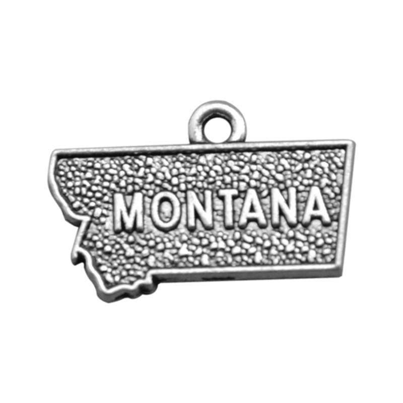 50PCS 2 Style Silver Montana State Map Dangle Charms DIY for Bracelet&Necklace Jewelry Wholesale