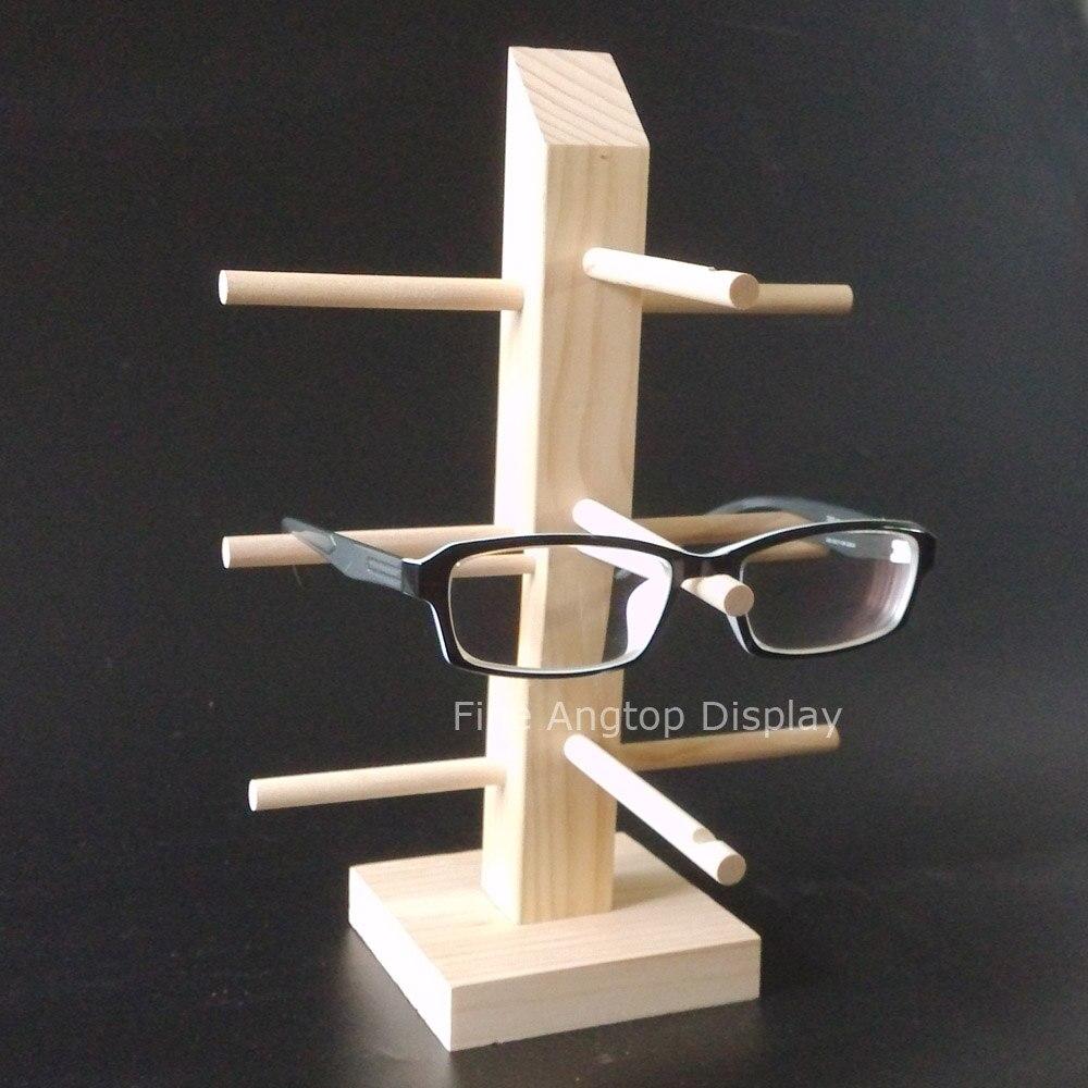 Eyeglasses display - Xmas Gift Wood Wooden Sunglasses Stand Holder Eyeglasses Display Shelf For 3 Pairs Glasses Frame Rack