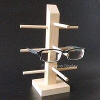 Xmas Gift Wood Wooden Sunglasses Stand Holder Eyeglasses Display Shelf For 3 Pairs Glasses Frame Rack Storage Organizer