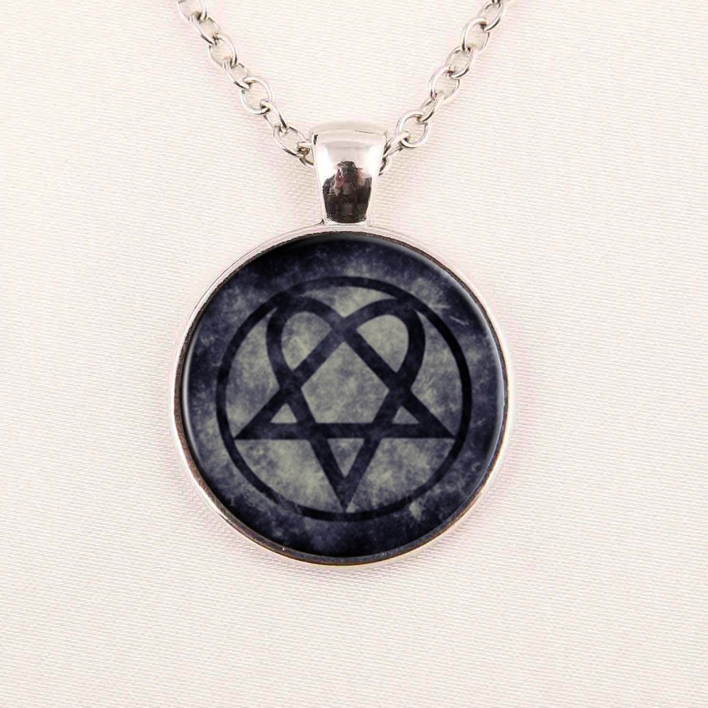 Free shipping Wholesale Glass Dome rock band HIM jewelry zinc alloy glass retro pendant necklace for rock fans