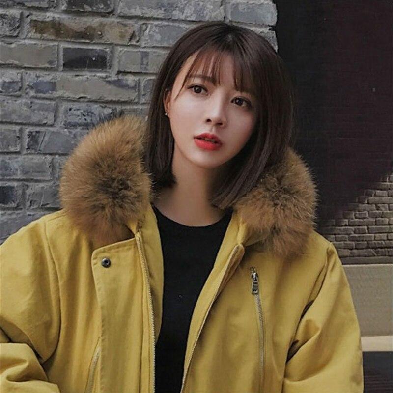 Parkas de talla grande para mujer abrigo de algodón de cuello de piel largo de invierno grueso abrigo suelto con capucha de Safari chaqueta femenina de tela de algodón n155 - 6