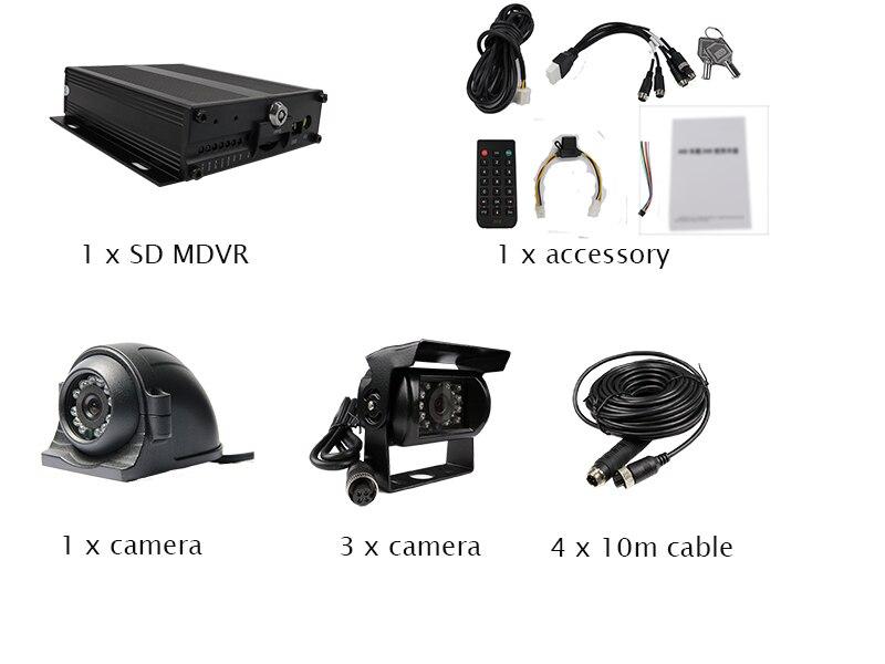 Free Shipping H.264 I/O 128GB SD G-sensor Car Vehicle DVR Video Recorder Kit + Metal IR Side Rear View Car Camera for Truck Bus