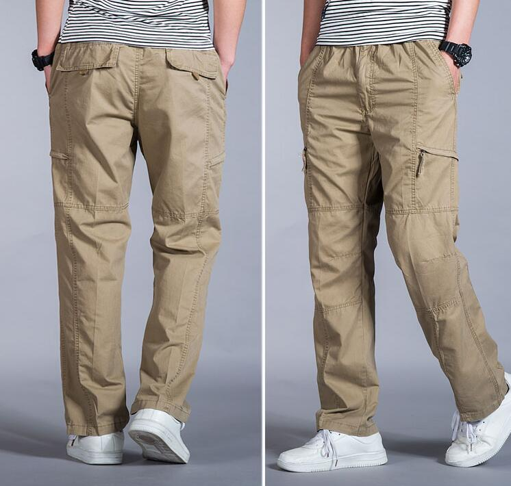 HTB1 FrszOCYBuNkHFCcq6AHtVXaa Big Size Casual Men Joggers Pants 2018 summer Loose Wide Cargo Pants Cotton Jumpsuit Elastic Waist Harem tactica Trousers M-6XL