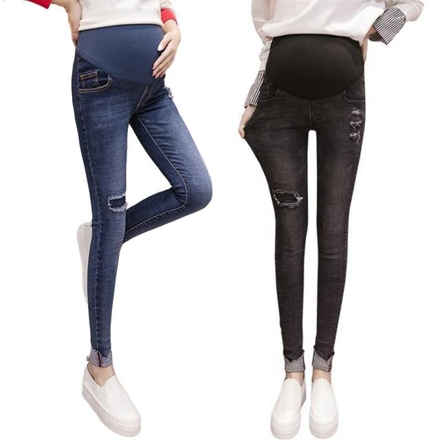ff328b7f30 Pantalones vaqueros de otoño e invierno para mujeres embarazadas gastados  adelgazantes mujeres embarazadas Pantalones premama ropa