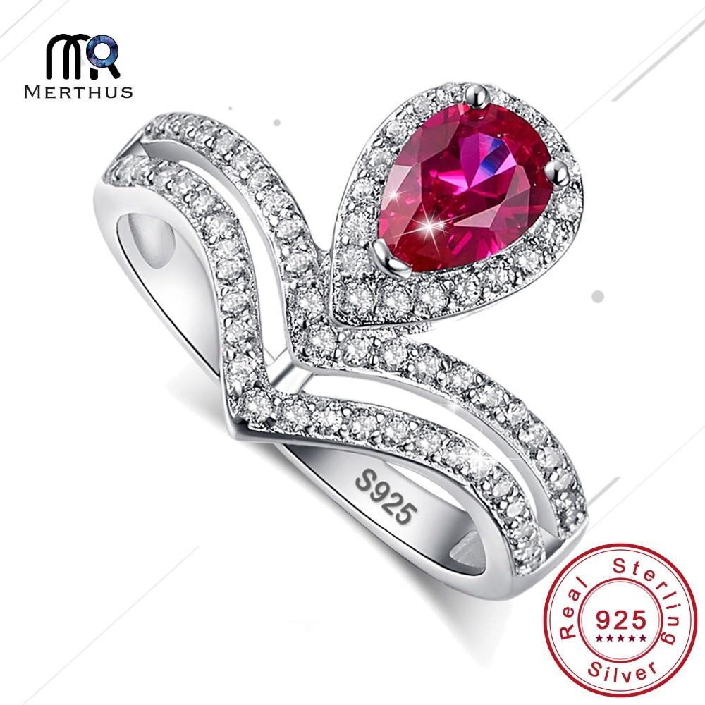 waterdrop wedding rings sterling solid 925 silver female luxury princess crown pear type women multicolor optional wedding ring - Wedding Ring Types
