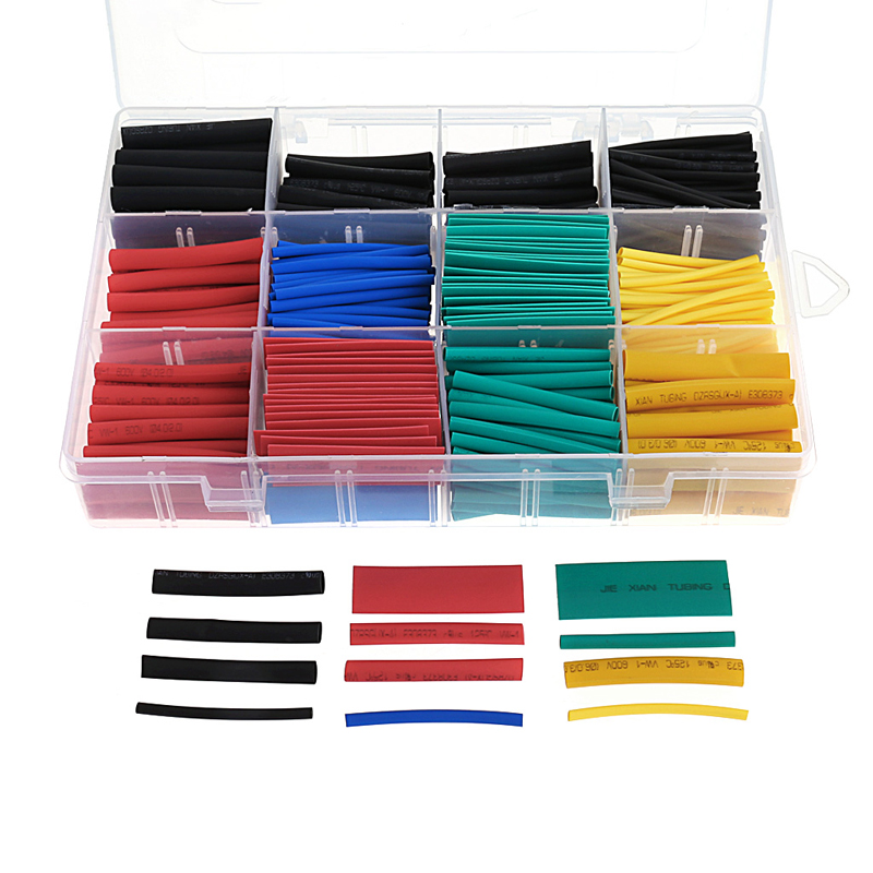 530Pcs/lot Heat Shrink Tubing Tube Sleeving Wrap Cable Wire 5 Color 8 Size Case Cable Sleeves