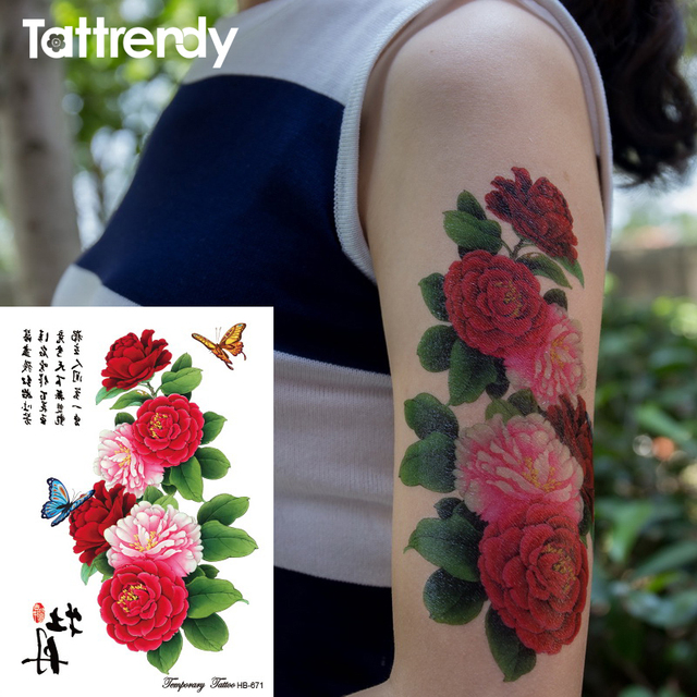 1pc Large Peony Flower Butterfly Pattern Temporary Tattoo Sticker Women Waterproof Body Paint Tattoos Arm Leg Shoulder HB671