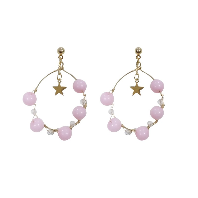 Stylish handmade weaved beads earring with star shiny gold color earring with dreamed pink and green beads