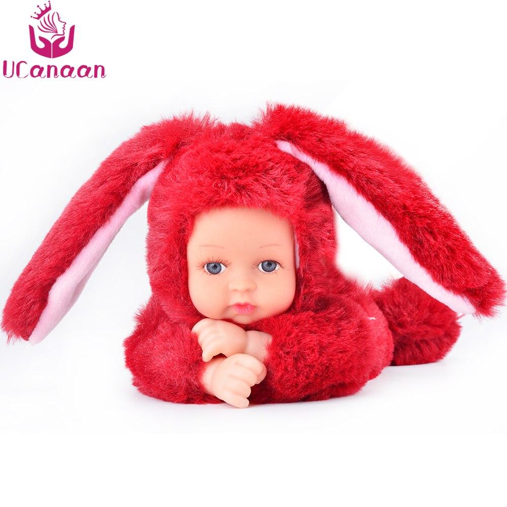 UCanaan Weichem Plüsch Stofftiere Für Kinder Kawaii 6 Farben Kaninchen Bär Kinder Spielzeug Speelgoed Wiedergeboren Puppen Brinquedos Mädchen Geschenke
