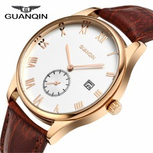 Men Watches Top Brand GUANQIN Relogio Masculino Date Genuine Leather Clock Luxury Casual Watch Men s