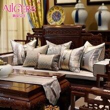 Avigers роскошные современные китайские стильные Лоскутные наволочки для подушек, Коричневые Серые Чехлы для подушек с кисточками 45x45 50x50 см