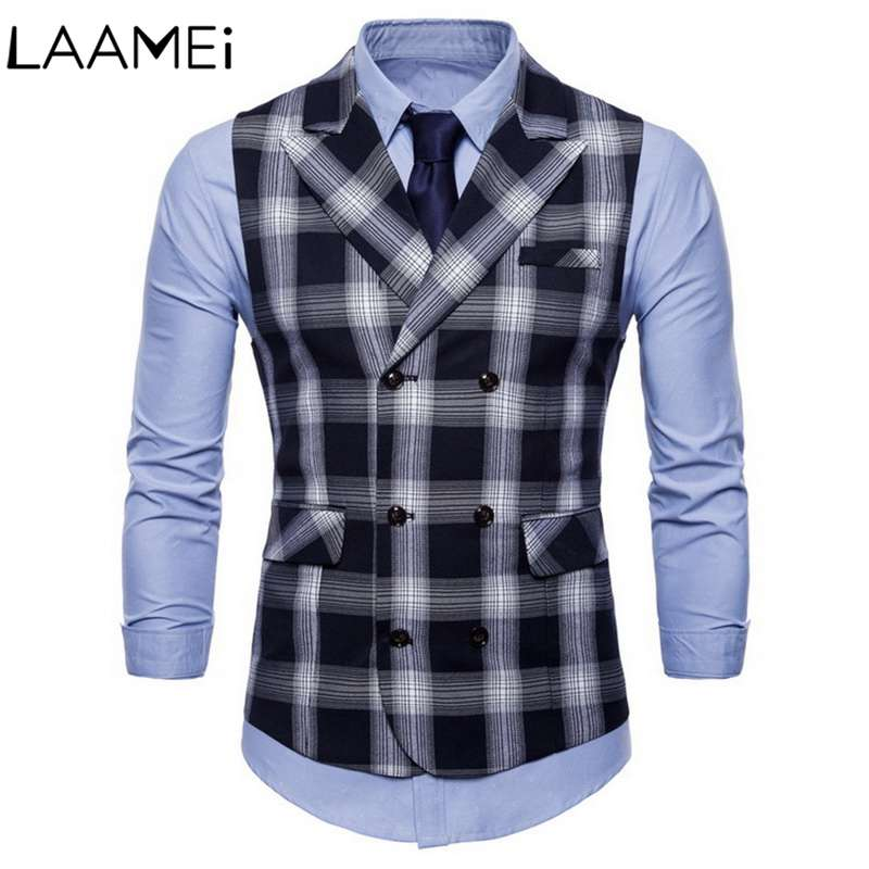 Laamei Men's Double-breasted Plaid Vest Spring And Autumn British Wind Double Pocket Suit Lapel Large Size Men's Vest