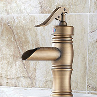 Manufacturers wholesale marketing Hot and cold faucet Antique Brass Waterall Bathroom Sink Faucet Single Lever Basin Mixer Tap