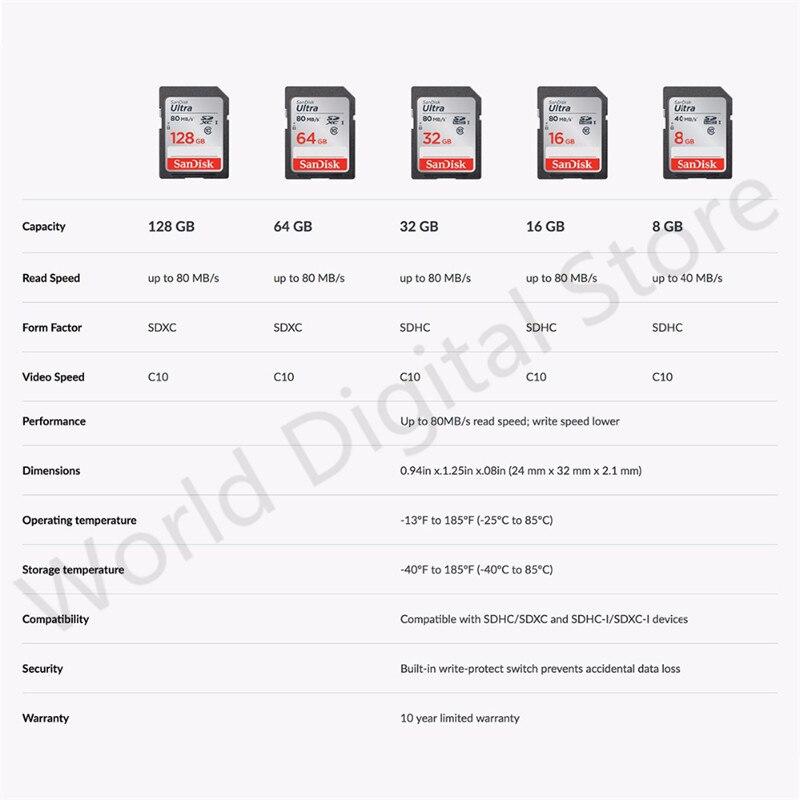 Оригинальный SanDisk SD карты 128 г 64 ГБ 32 ГБ 16 ГБ Class 10 Ultra на очень высоком Скорость SDHC/ SDXC 80 МБ/с. SD карты для Canon Камера карты
